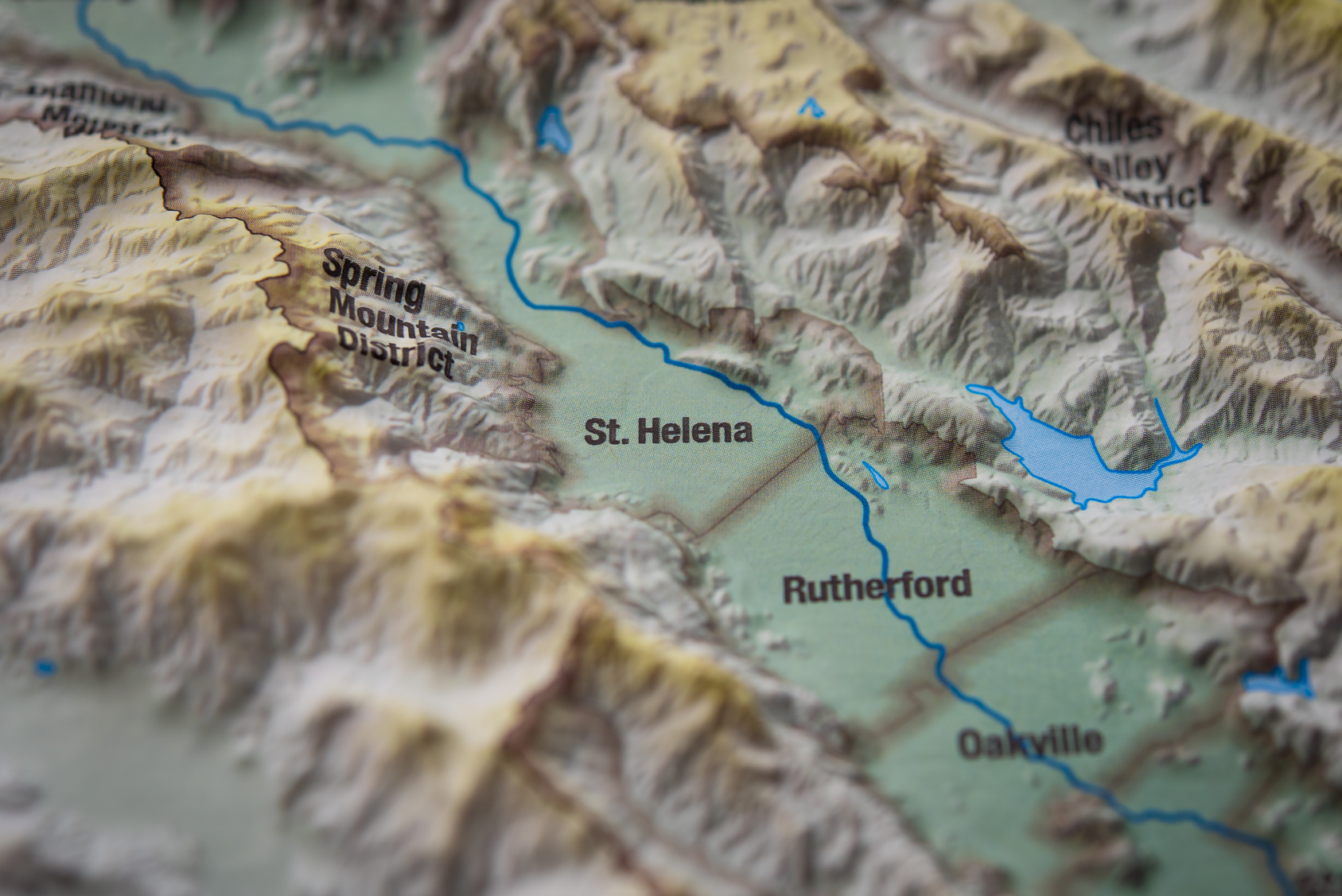 Close up of St. Helena wine district on 3D map, Napa valley